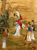 Product ID : 6341 - Category : Painting - Product Name : Vintage Chinese Original Water Ink Hand Painting Scroll The Lady