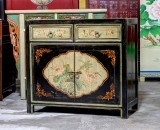 Product ID : 6910 - Category : Side Cabinet - Product Name : Chinese Black and Yellow Lacquer Painted Side Cabinet 2 Drawers 2 Doors