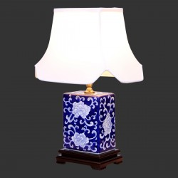 Product ID : 6954 - Category : Lighting - Product Name : Blue and White Table Lamp with Peony Flower Pattern