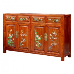 Product ID : 6752 - Category : Sideboard-Long - Product Name : Chinese Lacquer Painted Four Season Flowers Sideboard with 4 Drawer and 4 Door