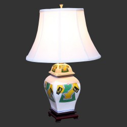 Product ID : 6929 - Category : Lighting - Product Name : Ceramic Table Lamp white Chinese Dress Pattern
