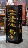 Product ID : 6619 - Category : Sideboard - Product Name : Black Leather Wrap Tall Jewellery Cabinet