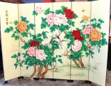 Product ID : 6486 - Category : Screen - Product Name : Cream Background Flower Hand Painted Room Divider Screen