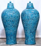 Product ID : 7061 - Category : Other Decor - Product Name : Pair of Large Ceramic Carving Jar of Classical Chinese Novel 108 Stars of Water Margin
