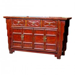 Product ID : 6024 - Category : Sideboard-Long - Product Name : Vintage Chinese Brown Lacquer Sideboard 3 Drawer 4 Door