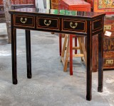 Product ID : 6529 - Category : Console Table - Product Name : Black Lacquer Hallway Console Table with 3 Drawer