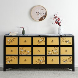 Product ID : 7025 - Category : Long Sideboard - Product Name : Black Lacquer 15 Gold Painted Drawers Sideboard with Flower and Bird Pattern