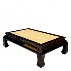 Product ID : 6664 - Category : Coffee Table - Product Name : Black Lacquer Chinese Opium Style Coffee Table with Rattan Inlay Top