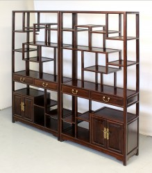 Product ID : 6059 - Category : Shelf - Product Name : Pair of Chinese Style Wooden Curio Shelf 4 Drawer 4 Door