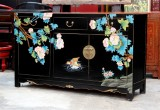 Product ID : 6691 - Category : Sideboard-Long - Product Name : Chinese Black Lacquer Painted Sideboard Cabinet
