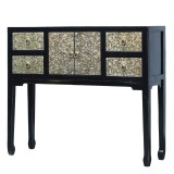 Product ID : 7102 - Category : Console Table - Product Name : Black Lacquer Console Table with Silver Pattern