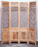Product ID : 7058 - Category : Screen - Product Name : Double Sided Wood Carved Folding Screen Room Divider with Chinese Lattice Pattern