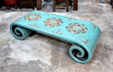 Product ID : 6616 - Category : Coffee Table - Product Name : Aqua Blue Lacquer Roll Leg Coffee Table with Tibetan Pattern