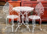 Product ID : 6597 - Category : Other Decor - Product Name : White Flowers Full Metal Outdoor Garden Table and Chair Set
