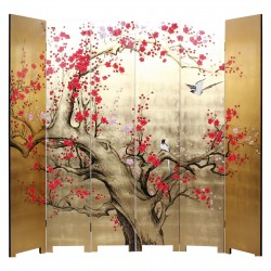 Product ID : 7013 - Category : Screen - Product Name : Hand Painted Six Panel Folding Screen with Cherry Blossom and Birds on Gold Leaf Background