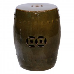 Product ID : 6829 - Category : Chair - Product Name : Dark Green Glaze Chinese Double Coin Symbol Drum Style Ceramic Stool