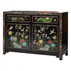 Product ID : 6775 - Category : Sideboard - Product Name : Chinese Black Lacquer Painted Cabinet with Flower and Bird Pattern