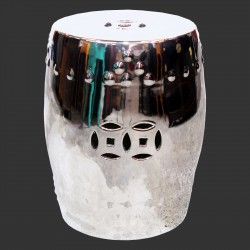 Product ID : 6831 - Category : Chair - Product Name : Silver Glaze Chinese Double Coin Symbol Drum Style Ceramic Stool