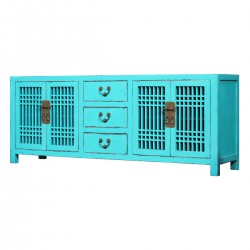 Product ID : 7151 - Category : TV Cabinet - Product Name : Chinese Style Aqua Blue Lacquer TV Cabinet with 4 Doors and 3 Drawers