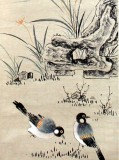 Product ID : 6295 - Category : Painting - Product Name : Vintage Chinese Original Water Ink Hand Painting Scroll The Flower and Bird