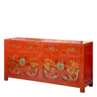Product ID : 6464 - Category : Sideboard-Long - Product Name : Red Lacquer Gold Painted Sideboard