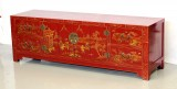 Product ID : 6077 - Category : TV Cabinet - Product Name : Red Lacquer Chinese Style Gold Painted Low Cabinet 4 Drawer 2 Folding Door