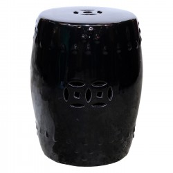 Product ID : 6384 - Category : Chair - Product Name : Black Glaze Chinese Double Coin Symbol Drum Style Ceramic Stool