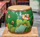 Product ID : 6762 - Category : Other Decor - Product Name : Wooden Double Side Leather Drum with Lotus Painting