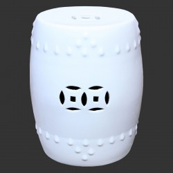Product ID : 6991 - Category : Chair - Product Name : White Glaze Chinese Double Coin Symbol Drum Style Ceramic Stool