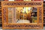 Product ID : 6726 - Category : Wall Decor - Product Name : Antique Southeast Aisa Style Wood Carving Wall Mirror
