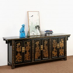 Product ID : 6797 - Category : Sideboard - Product Name : Chinese Black Lacquer Gold Painted Long Buffet Sideboard 3 Drawers 6 Doors with Flowers and Birds Painting