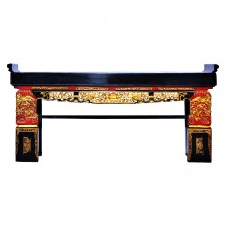 Product ID : 7004 - Category : Console Table - Product Name : Vintage Chinese Black Lacquer Gold Wood Carving Altar Style Hall Table with Stone Inlay Table Top