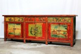 Product ID : 6919 - Category : Long Sideboard - Product Name : Vintage Chinese Shanxi Province Lacquer Painted Sideboard Cabinet