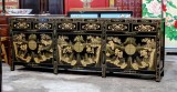 Product ID : 6843 - Category : Sideboard - Product Name : Black Lacquer Gold Painted Long Buffet Sideboard 6 Drawer 6 Door