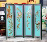 Product ID : 6580 - Category : Screen - Product Name : Aqua Blue Background Flower and Bird Painting 4 Panel Screen