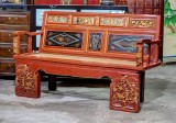 Product ID : 6807 - Category : Chair - Product Name : Vintage Chinese Red Lacquer Wood Carving Gold Painted 2 Seater Armchair