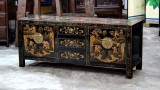 Product ID : 6601 - Category : TV Cabinet - Product Name : Chinese Style Black Lacquer Gold Painted Small TV Cabinet