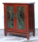 Product ID : 7079 - Category : Sideboard - Product Name : Antique Chinese Red and Green Lacquer Painted Side Cabinet