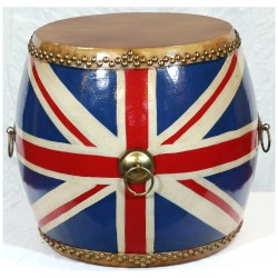 Product ID : 6443 - Category : Other Decor - Product Name : Wooden Double Side Leather Drum with Union Jack Painted
