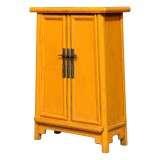 Product ID : 6980 - Category : Small Cabinet - Product Name : Yellow Lacquer Side Cabinet with 2 Doors