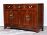Product ID : 7015 - Category : Sideboard-Long - Product Name : Dark Brown Chinese Style Sideboard with 3 Drawers and 4 Doors