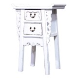 Product ID : 7051 - Category : Small Cabinet - Product Name : Chinese Altar Style White Lacquer Painted Small Site Table with 2 Drawers