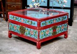 Product ID : 6816 - Category : Coffee Table - Product Name : Chinese Lacquer Painted Coffee Table with Glass Top and Slidable Drawers