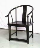 Product ID : 6182 - Category : Chair - Product Name : Black Lacquer Chinese Ming Style Round Backed Armchair