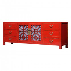 Product ID : 7068 - Category : TV Cabinet - Product Name : Red Lacquer Painted TV Cabinet with Glass Door and 6 Drawers