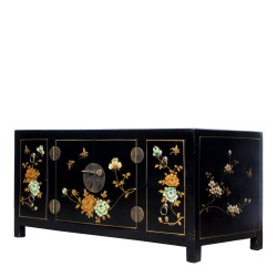 Product ID : 6520 - Category : TV Cabinet - Product Name : Black Leather Wrap Painted TV Cabinet with Glass Top 4 Drawer 2 Door