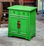 Product ID : 6654 - Category : Bedside Table - Product Name : Wooden Green Lacquered Bedside Cabinet 2 Drawer 2 Door