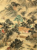 Product ID : 6359 - Category : Painting - Product Name : Vintage Chinese Original Water Ink Hand Painting Scroll The Landscape