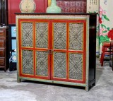 Product ID : 6864 - Category : Sideboard - Product Name : Silver and Red Pattern Wooden Sideboard 2 Door