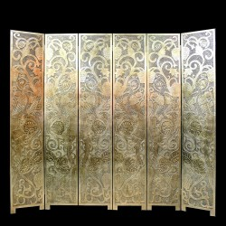 Product ID : 6789 - Category : Screen - Product Name : Gold Background Peacock and Grapes Carving Pattern Folding Screen 6 Panels